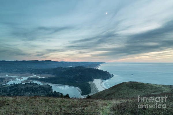 Nature Conservancy Photograph - The Moon Above Cascade Head by Masako Metz