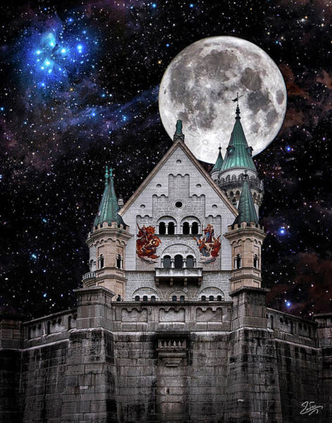 Photograph - The Moon Over Neuschwanstein by Endre Balogh