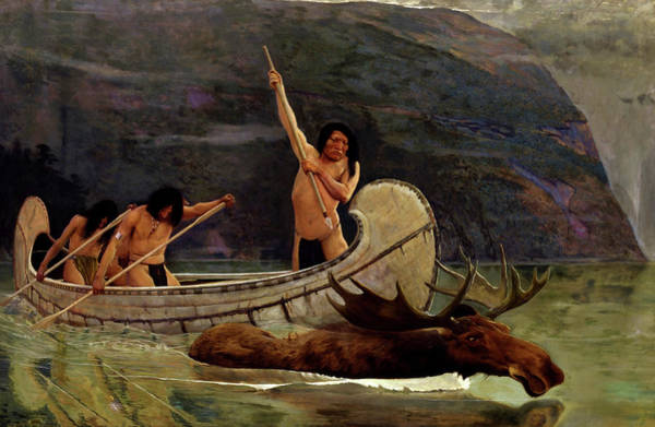Wall Art - Painting - The Moose Chase, Circa 1888 by George de Forest Brush