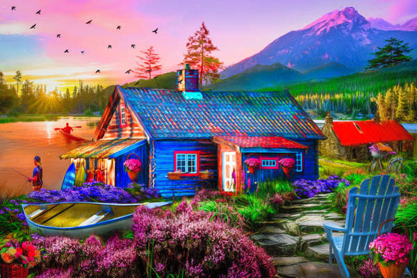 Autumn Barn Digital Art - The Mountain Life Painting by Debra and Dave Vanderlaan