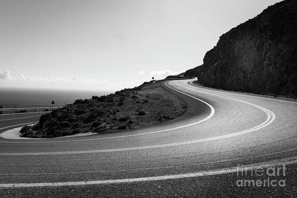 Photograph - The Mountain Road Of Crete In Black And White, Greece by Didier Marti