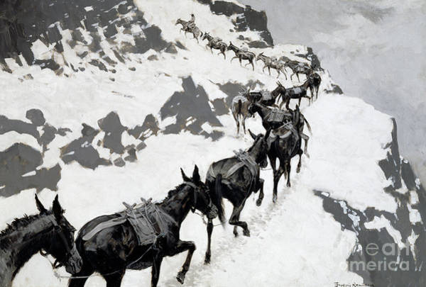 Wall Art - Painting - The Mule Pack, An Ore Train Going Into The Silver Mines, Colorado, 1901 by Frederic Remington