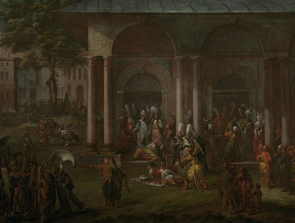 Painting - The Murder Of Patrona Halil And His Followers by Jean Baptiste Vanmour