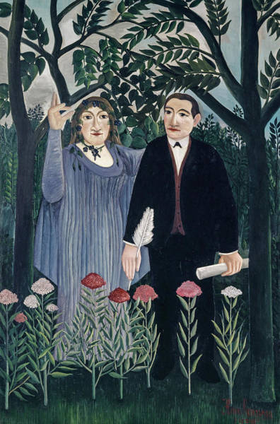 Wall Art - Painting - The Muse Inspiring The Poet by Henri Rousseau
