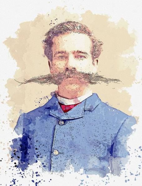 Painting - The Mustache 19th Century Man With Extraordinary Mustache.   By C.m. Bell Of Washington D.c. Waterco by Celestial Images