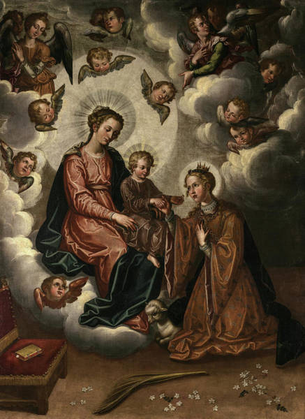 Wall Art - Painting - The Mystic Marriage Of St Agnes, 1628 by Francisco Pacheco