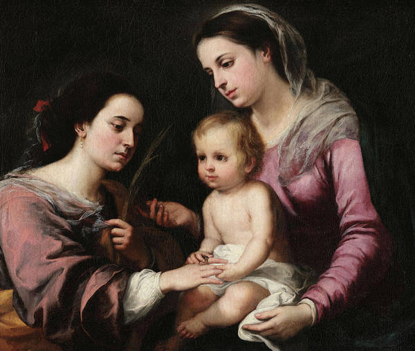 Golgotha Painting - The Mystic Marriage Of St. Catherine by Bartolome Esteban Murillo