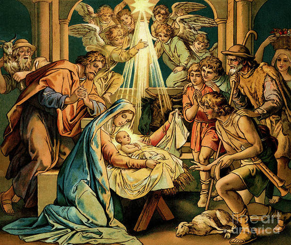 Wall Art - Painting - The Nativity, Madonna And Child, New Testament by English School