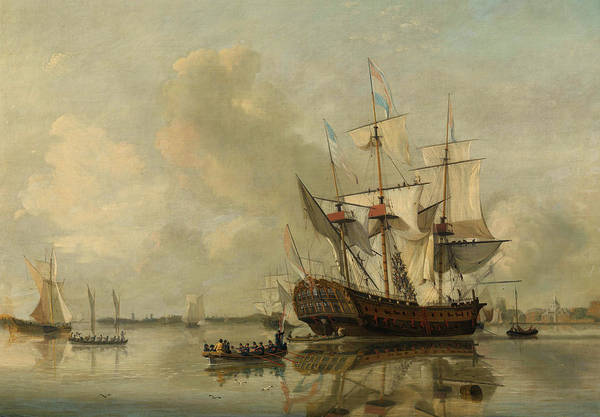 Wall Art - Painting - The Navy's Frigate 'rotterdam' On The Maas Off Rotterdam, 1887 by Nicolaas Baur