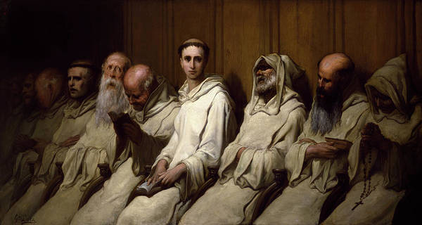 Wall Art - Painting - The Neophyte, First Experience Of The Monastery by Gustave Dore