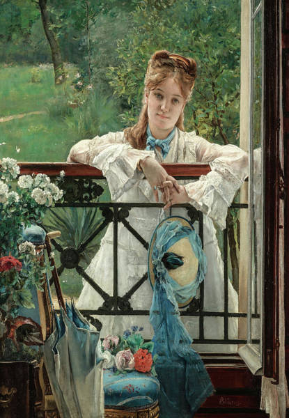 Steven Painting - The New Blue Ribbon by Alfred Stevens