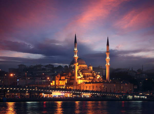Bosphorus Bridge Photograph - The New Mosque In Istanbul By Dusk by Narvikk