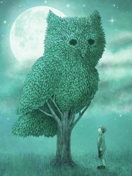 Owl Drawing - The Night Gardener by Eric Fan