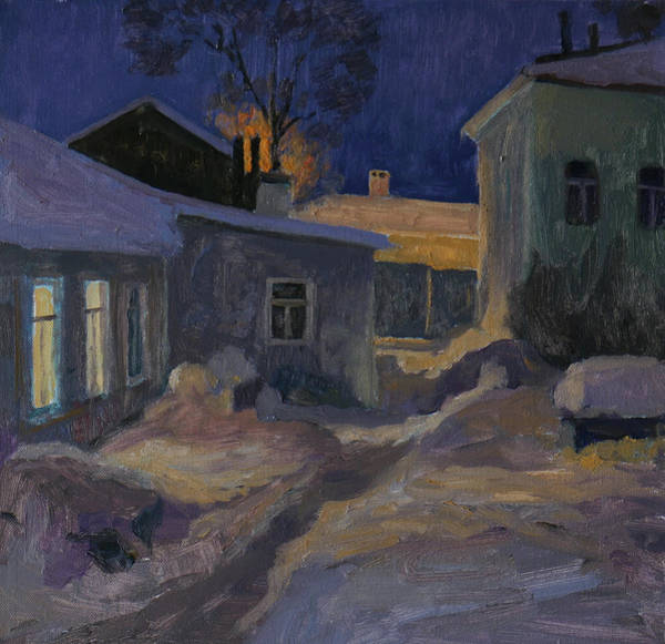 Russian Impressionism Wall Art - Painting - The Night Yard by Nikolay Dmitriev