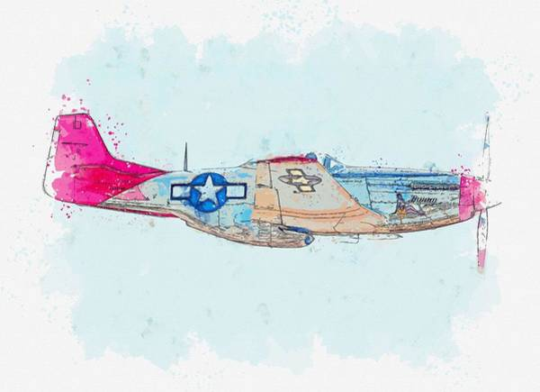 Painting - The North American Aviation P-51 Mustang Is An American Long-range, Single-seat Fighter And Fighter- by Celestial Images