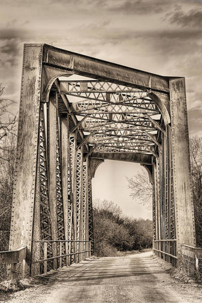 Wall Art - Photograph - The North Bosque River Bridge Hico In Sepia by JC Findley