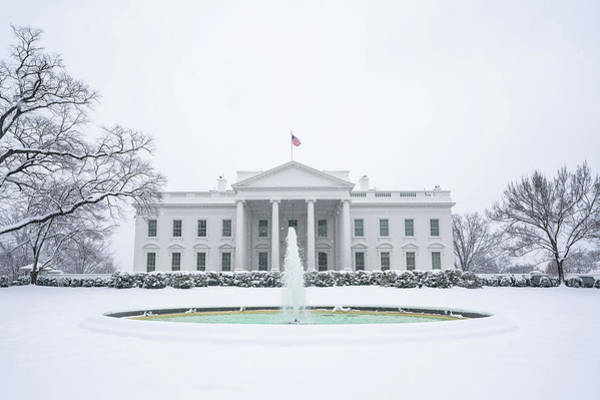 Wall Art - Painting - The North Side Of The White House Is Seen Covered In Snow by Celestial Images