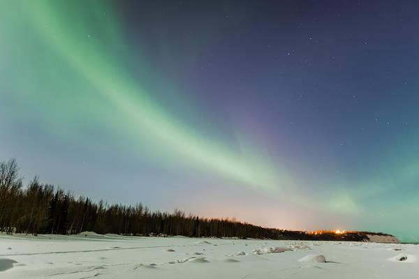 The Northern Lights In The Sky Above Art Print