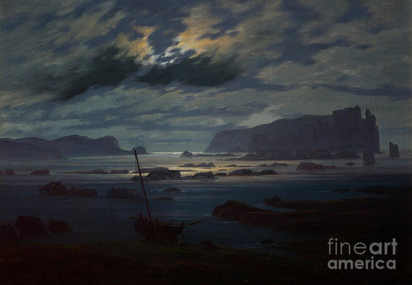 Moon Shadow Painting - The Northern Sea In Moonlight by Caspar David Friedrich