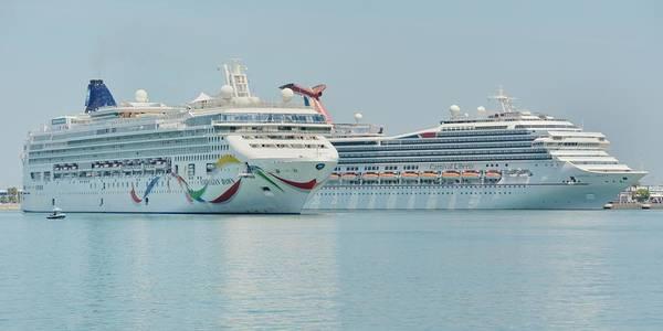 Photograph - The Norwegian Dawn And The Carnival Liberty by Bradford Martin