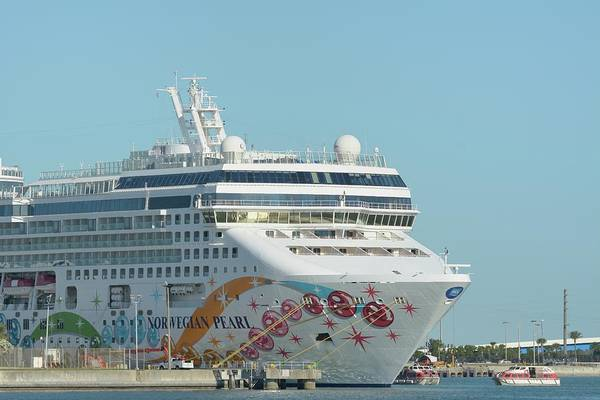 Photograph - The Norwegian Pearl At Port Canaveral And Lifeboats by Bradford Martin