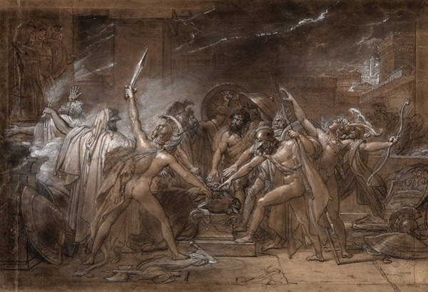Wall Art - Painting - The Oath Of The Seven Chiefs Against Thebes, 1800 by Anne-Louis Girodet de Roucy-Trioson