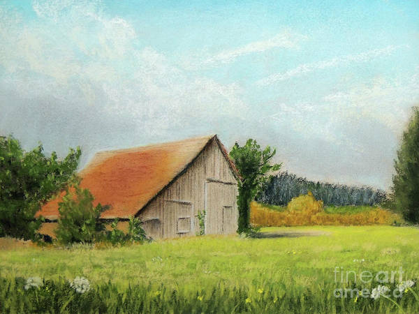 Pastel - The Old Barn In The Meadow by Jayne Wilson