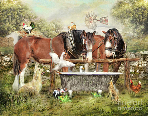 Golden Retriever Digital Art - The Old Country Tub by Trudi Simmonds