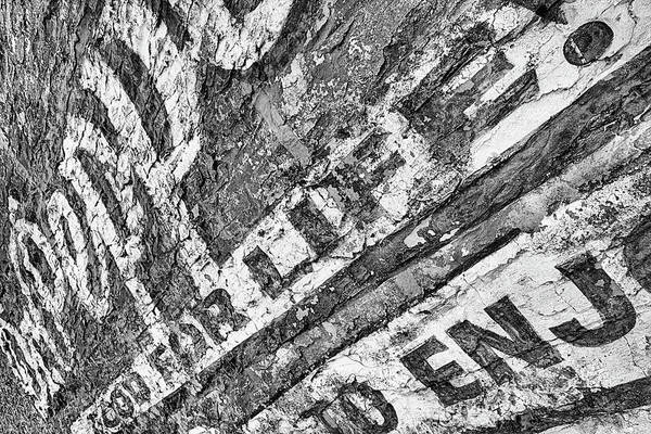 Photograph - The Old Dr Pepper Wall Black And White by JC Findley