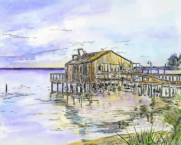 Drawing - The Old Fishing Shack by Michele A Loftus