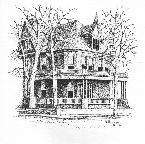 Drawing - The Old Governors Mansion,  Helena, Montana by Kevin Heaney