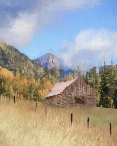 Fall Scenery Mixed Media - The Old Hunting Cabin by Lori Deiter