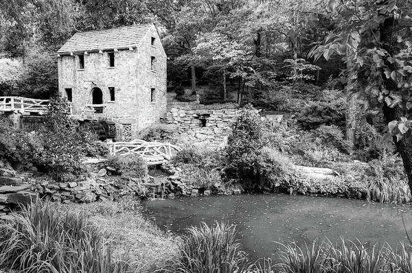 Photograph - The Old Mill In North Little Rock - Pugh's Mill 1832 Monochrome by Gregory Ballos