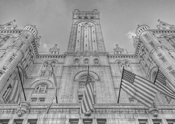 Photograph - The Old Post Office Now Trump International Hotel In Washington D.c. - Black And White by Marianna Mills