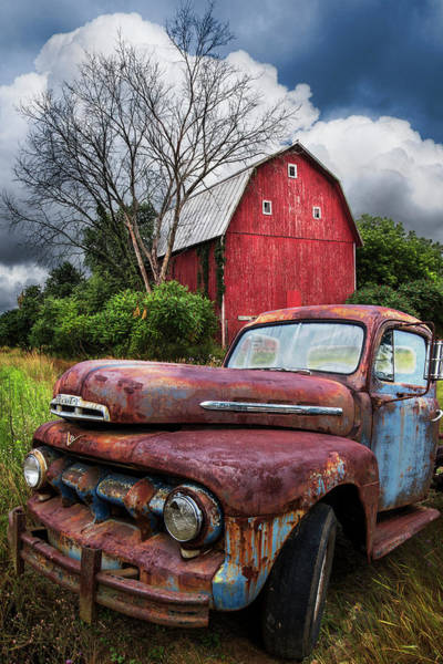 Wall Art - Photograph - The Old Red Barn Truck by Debra and Dave Vanderlaan