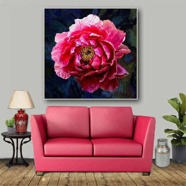 Wall Art - Digital Art - The One Pink  Peony-- Artwork In Situ by Grace Iradian