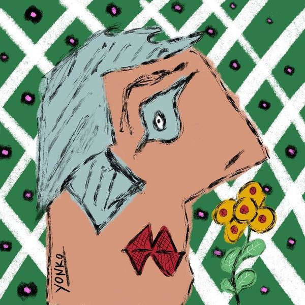 Painting -  The One Time I Walked On The Grass And Picked A Flower And Gave It To My Mom, She Loved It.  by Yonko Kuchera