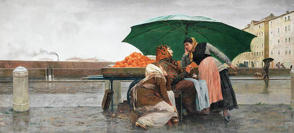 Wall Art - Painting - The Orange Sellers by Eugenio Cecconi