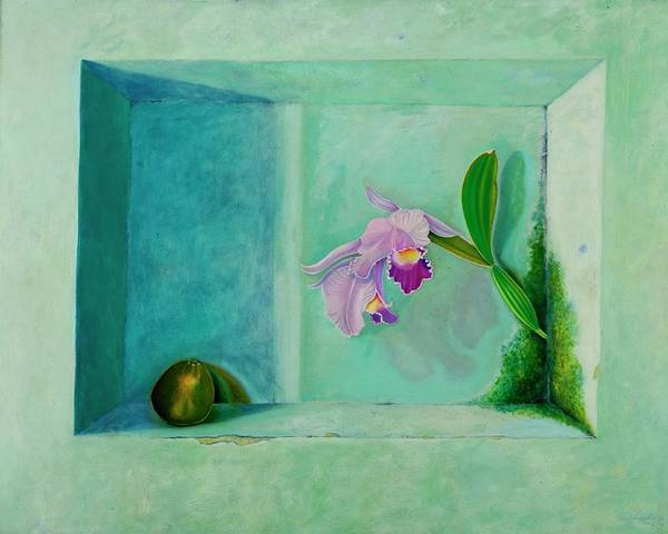 Wall Art - Painting - The Orchid And The Oranges Dialogue by Nelson Zapata
