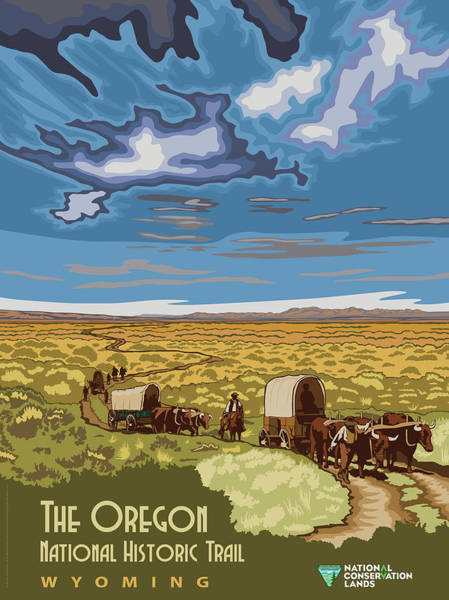 Wall Art - Mixed Media - The Oregon National Historic Trail Travel Poster by B L M