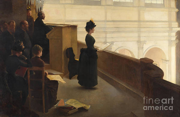 Wall Art - Painting - The Organ Rehearsal, 1885  by Henri Lerolle