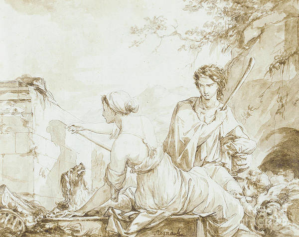 Wall Art - Photograph - The Origin Of Painting, Or Dibutade Tracing The Profile Of The Shepherd  by Jean-Baptiste Regnault