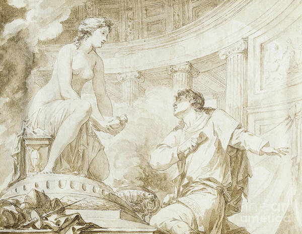 Jeans Drawing - The Origin Of Sculpture, Or Pygmalion And Galatea  by Jean-Baptiste Regnault