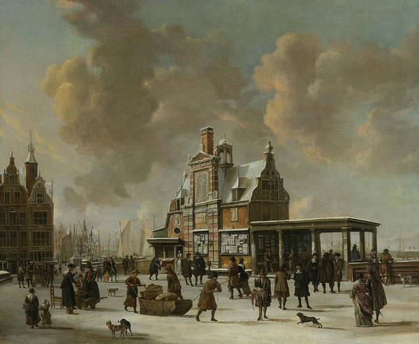 Wall Art - Painting - The Paalhuis And The Nieuwe Brug In Amsterdam During Wintertime by Jan Abrahamsz Beerstraaten