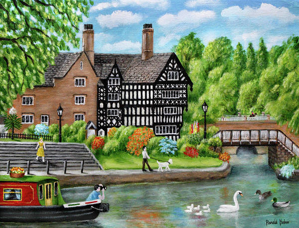 Half Timbered Painting - The Packet House Bridgewater Canal Worsley Salford by Ronald Haber