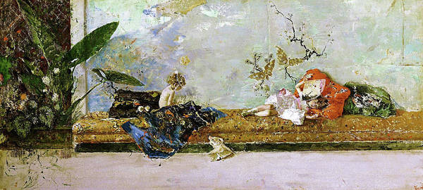 Wall Art - Painting - The Painters Children, Maria Luisa And Mariano, In The Japanese Room by Mariano Fortuny