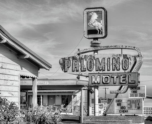 Photograph - The Palomino Motel Black And White by JC Findley