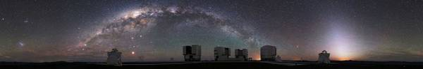 Wall Art - Painting - The Panorama View Of Milky Way Over Paranal Observatory By Eso by Celestial Images