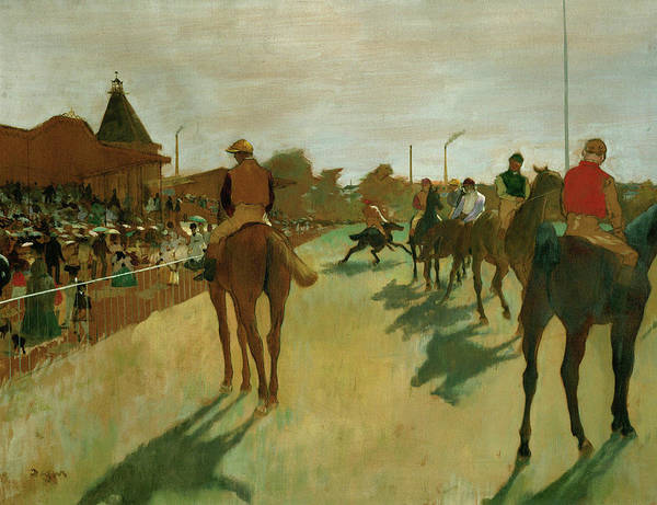 Wall Art - Painting - The Parade, Race Horses In Front Of The Tribunes, 1868 by Edgar Degas