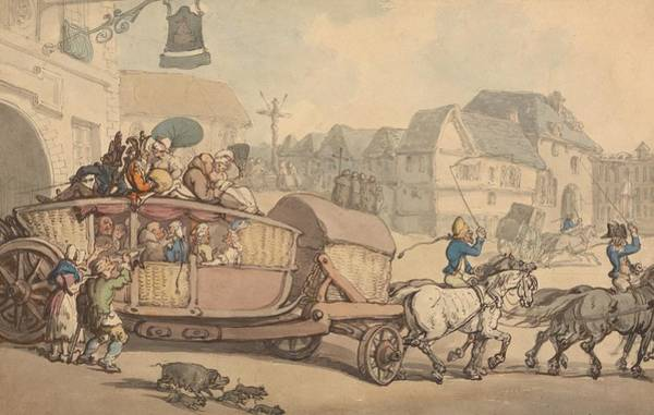 Drawing - The Paris Diligence by Thomas Rowlandson